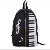 bag,nah,bookbag,backpack,piano,piano backpack,music,music backpack,notes,back to school,school uniform,cute,black backpack