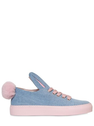 denim bunny sneakers pink shoes
