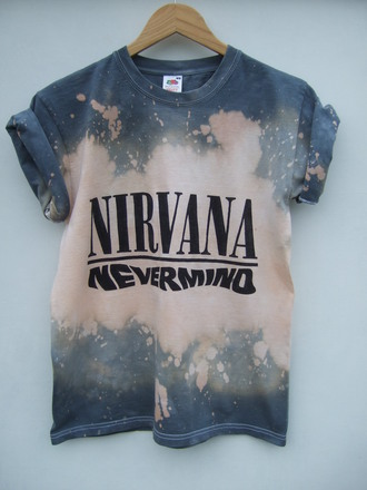 shirt tie dye nirvana grunge t-shirt nevermind acid wash