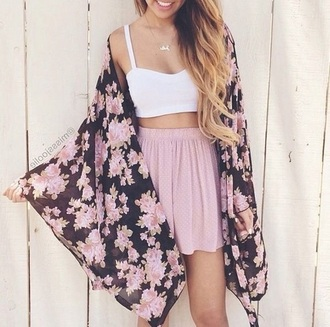 skirt floral blush pink pink white crop tops floral cardigan classy elegant