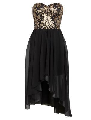 Urban Bliss Black and Gold Foil Strapless Dip Hem Dress