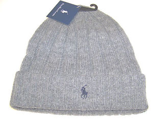 New Men's Ralph Lauren RL Grey Lambs Wool Pony Logo Ski Winter Hat Beanie Cap | eBay