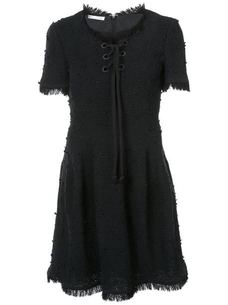 oscar de la renta dress lace up dress short women lace cotton black