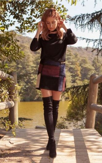 shoes boots ashley tisdale skirt mini skirt blogger fall outfits sweater top over the knee boots knee high boots