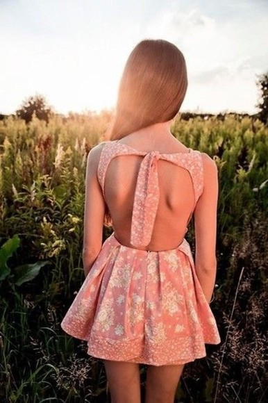 dress tie up floral backless day dress