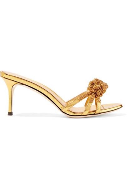 metallic embellished mules gold leather shoes