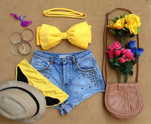 Bow 2 Piece Bikini - Yellow