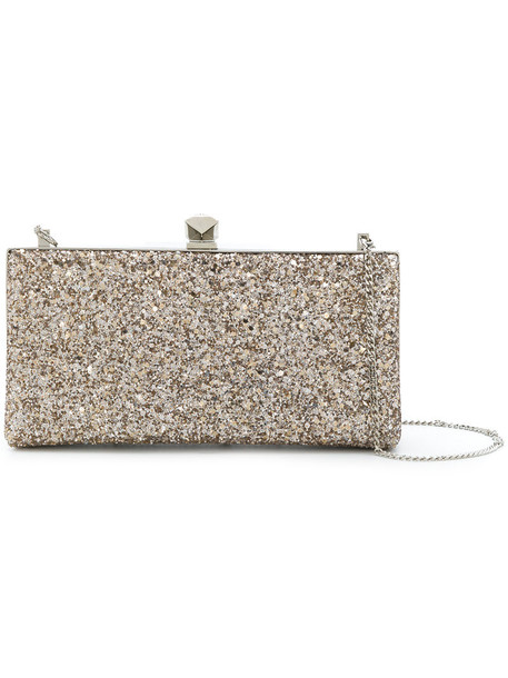 women clutch grey metallic bag
