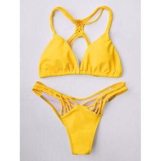 swimwear summer bikini yellow beach trendy rose wholesale