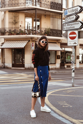 top sunglasses tumblr athleisure sweatshirt black top skirt midi skirt blue skirt pencil skirt sneakers white sneakers bag shoes