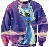 sweater,crewneck,sweatshirt,water,comfy,pokemon,dragonair,purple,dragon,galaxy print,tumblr,shirt,galaxy shirt