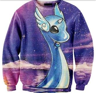 sweater crewneck sweatshirt water comfy pokemon dragonair purple dragon galaxy print tumblr shirt galaxy shirt