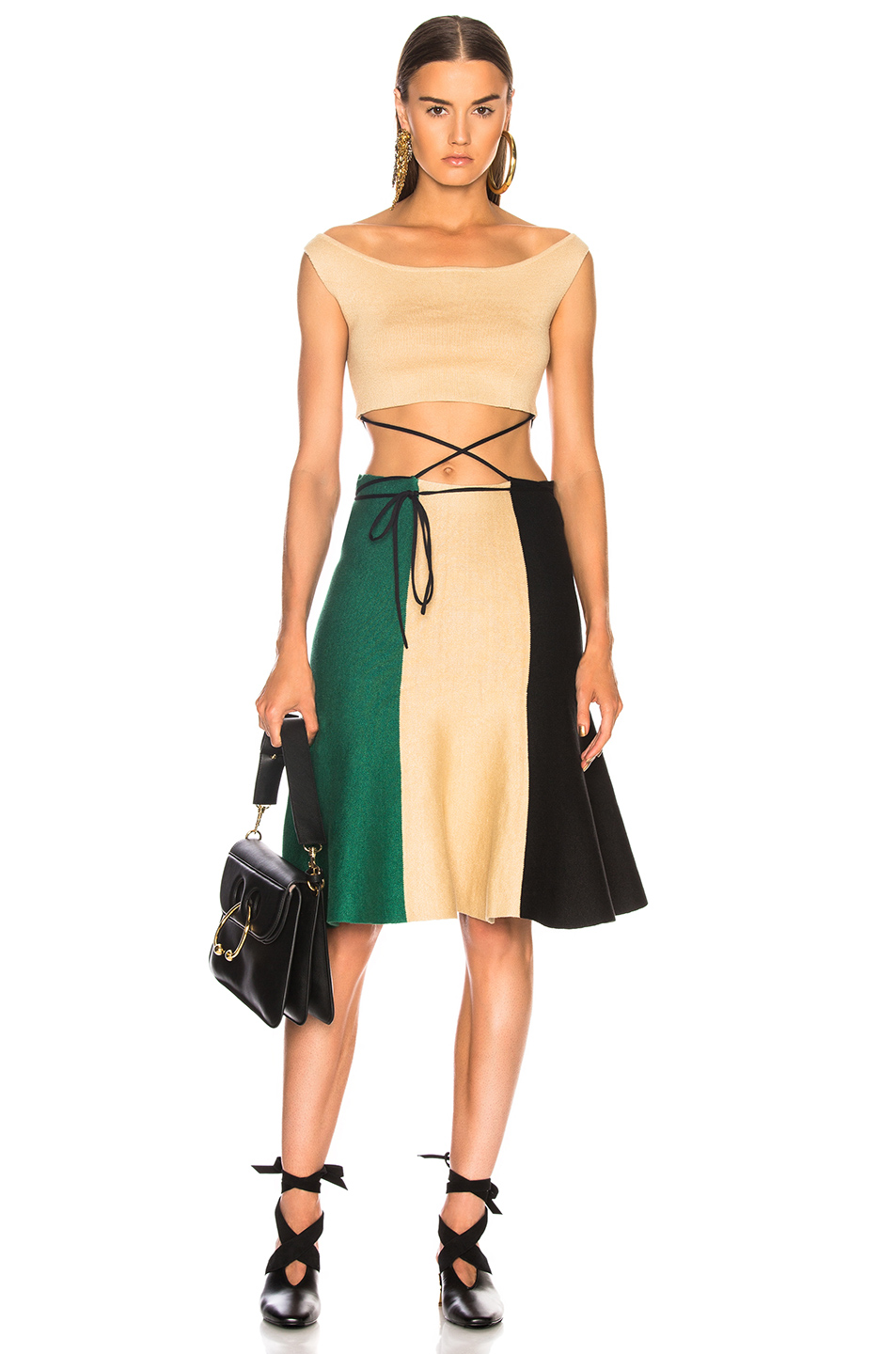 JW Anderson Rustic Tricolor Dress in Emerald | FWRD