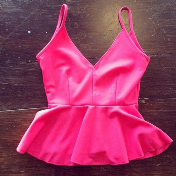 blouse neon pink peplum