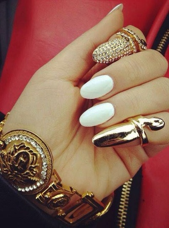 jewels gold nail ring jeweled ring fingernail ring