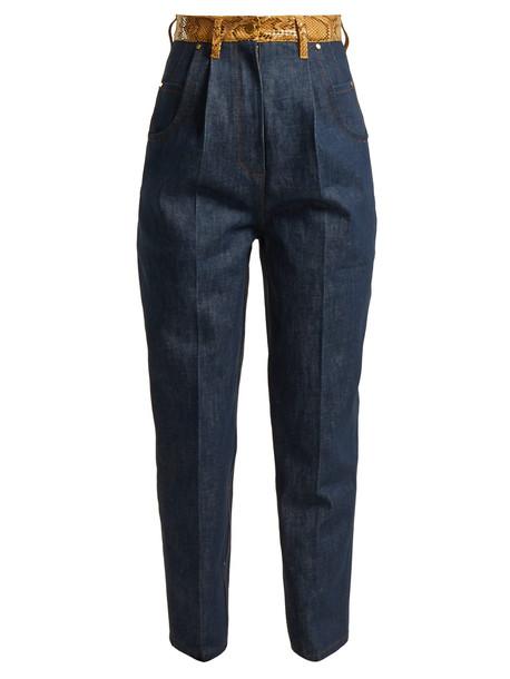 HILLIER BARTLEY Faux snakeskin-trim jeans in denim / multi