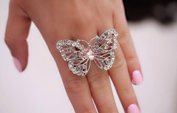 jewels butterfly crystal diamonds jewerly ring accessories gorgeous girly rhinestones silver butterfly ring sparkle