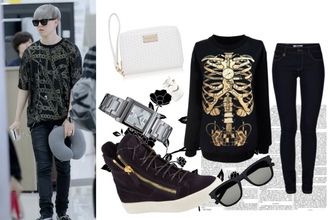 sweater skeleton black sweater gold black and gold menswear black and gold sweater clock clock sweater
