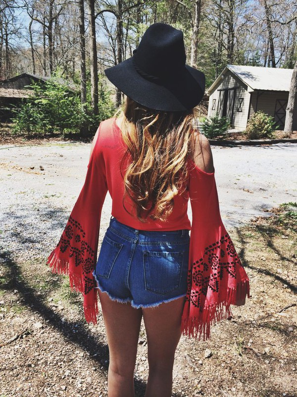 shirt boho pink black hat shorts off the shoulder open shoulder open shoulders flare sleeve flare sleeves hippie boho chic boho shirt High waisted shorts jean short shorts denim shorts hippie shirt long sleeve shirt acid wash high waisted