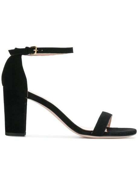 STUART WEITZMAN women sandals leather suede black shoes