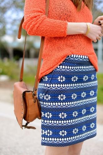 skirt orange sweater shoulder bag blue skirt pencil skirt pop of color