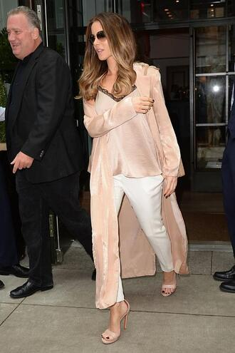 top pants kate beckinsale sandals sandal heels duster coat summer outfits summer top nude top nude camisole