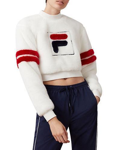 Fila Women's Cristabel Faux Fur Crop Sweatshirt - White/Chinese Red/Peacoat - Size S