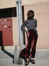 pants,tumblr,velvet,velvet pants,wide-leg pants,top,stripes,striped top,long sleeves,mules,black shoes,satin shirt,cropped velvet pants,wide-leg velvet pants,wide leg velvet pants,cropped wide-leg velvet pants