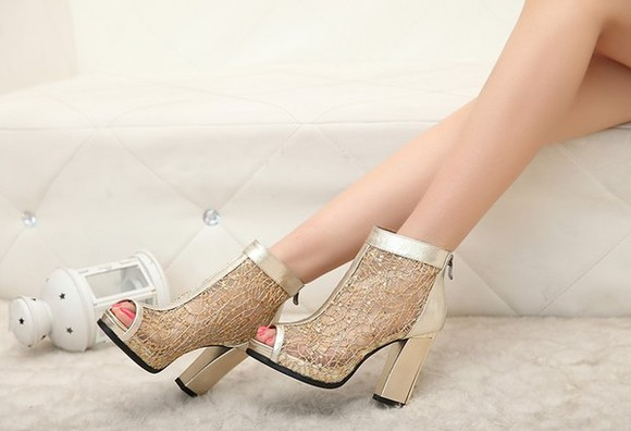 shoes high heels golden luxury sandals hollow peeptoe mesh boots