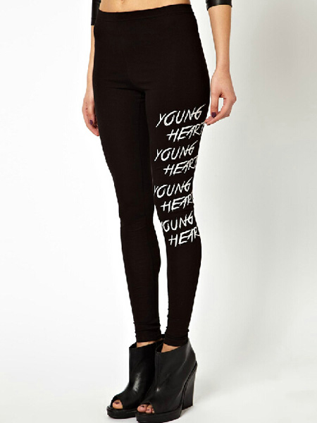 Young hearts letters printed black slim leggings