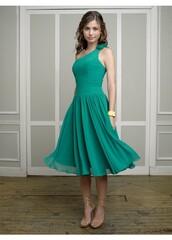 dress,one-shoulder chiffon bridesmaid dress,chiffon bridesmaid dress