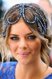 jewels,blue,celebrity,beautiful,bohemian,iridescent,sparkle,headpiece,perfecto,prom dress,prom,boho,boho chic,hippie,gypsy,hippie chic