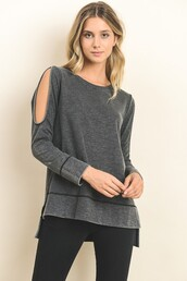 top,charcoal gray,grey,cold shoulder,oil washed,stitching