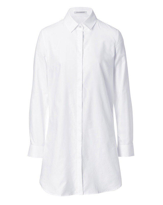 Cotton Long Sleeve Shirtdress in White from J.W. ANDERSON | Luxury fashion online | STYLEBOP.com