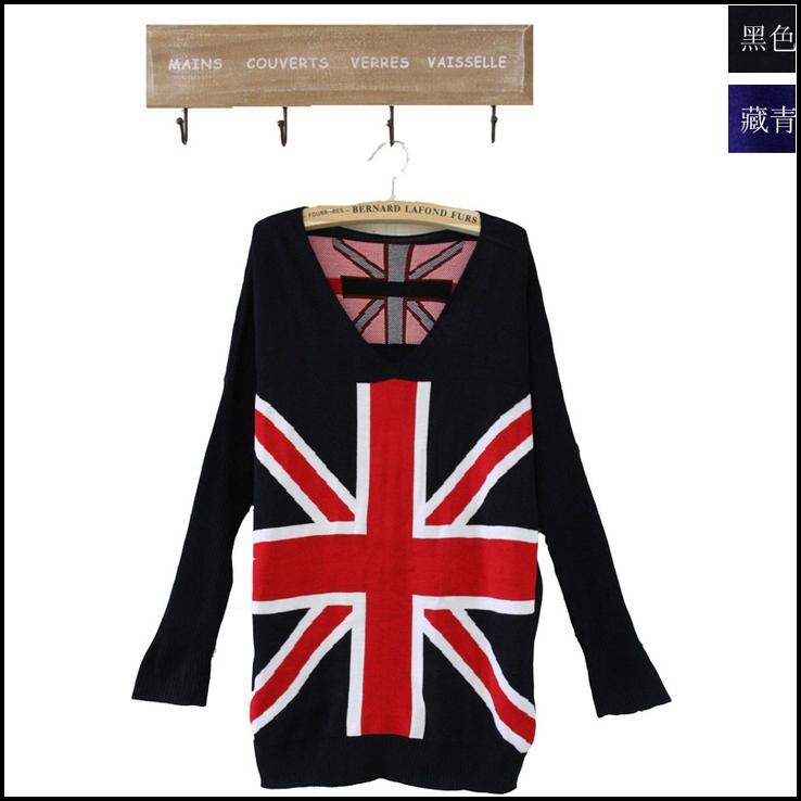 2013 new fashion women's knit cardigan sweater jumper dress jacket union jack british uk flag winter knitwear blazer thin coat