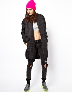 Asos longline quilted bomber at asos