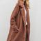 Acadia long brown faux shearling borg coat