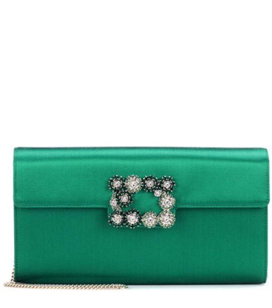 clutch flowers satin green bag