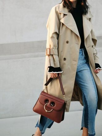coat tumblr trench coat beige coat top black top bag brown bag j w anderson denim jeans blue jeans patchwork fall outfits french girl style jw anderson bag