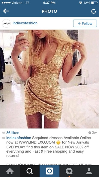 dress sequin dress gold dress deep v neck dress gold sequins bodycon dress