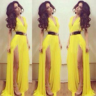 yellow dress long dress dress