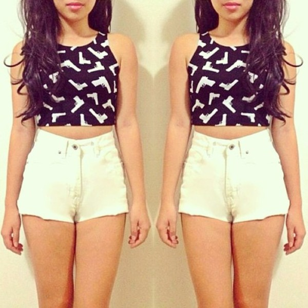 shirt shorts black gun white crop tops High waisted shorts High waisted shorts