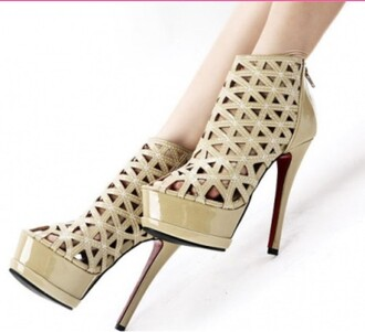 shoes high heels cute high heels heels white and tan shoes design style