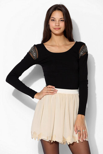 shirt long sleeves long sleeve shirt boho indie hipster hippie pretty cute hot lovely sheer cotton chiffon black silver grey gold off-white skirt tights jewels bohemian jewelry accessories