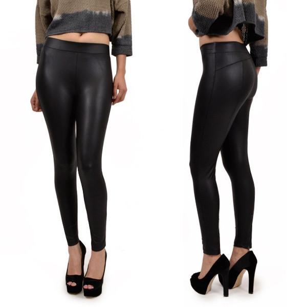 leggings faux leather leggings zipper detail