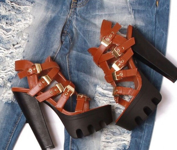 high heels platform shoes brown heels