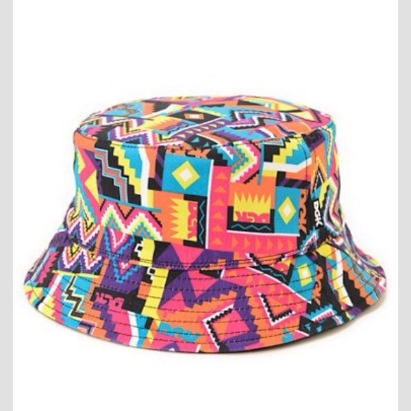 bucket hat multicolor yellow purple orange