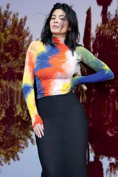 top colorful skirt editorial kylie jenner