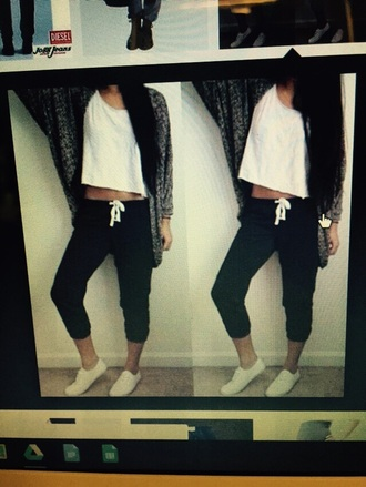 cardigan grey cardigan black pants white crop tops