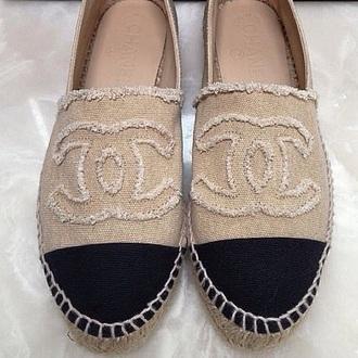 shoes beige black chanel espadrilles